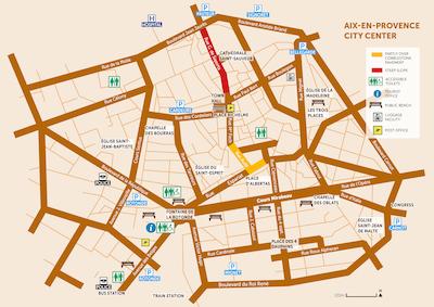 Aix en Provence Downtown map simplified